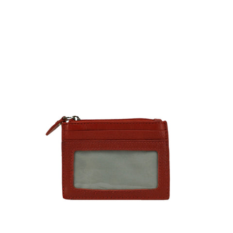 Red Leather ID and Coin Wallet - W767