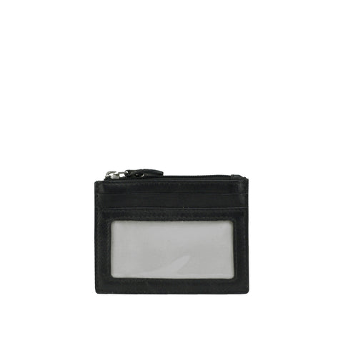 Black Leather ID and Coin Wallet - W767