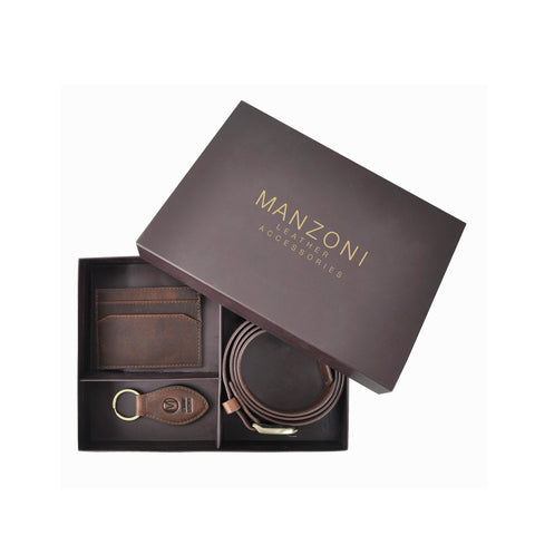 Tan Mens Leather Belt + Cardcase and Keyring Set - BWS01