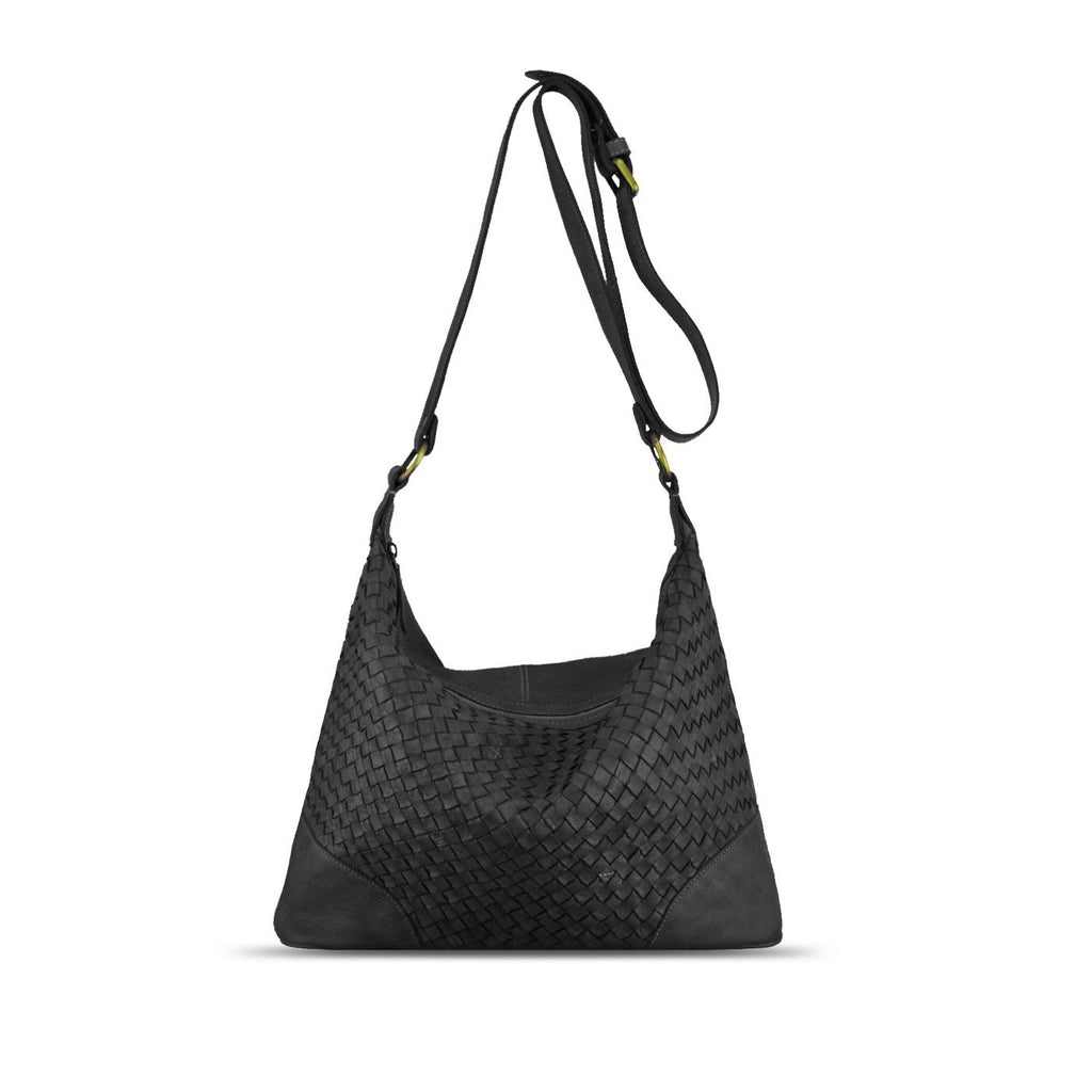 Black Washed Woven Leather Shoulder Bag - RAW001