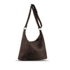 Brown Washed Woven Leather Shoulder Bag - RAW001