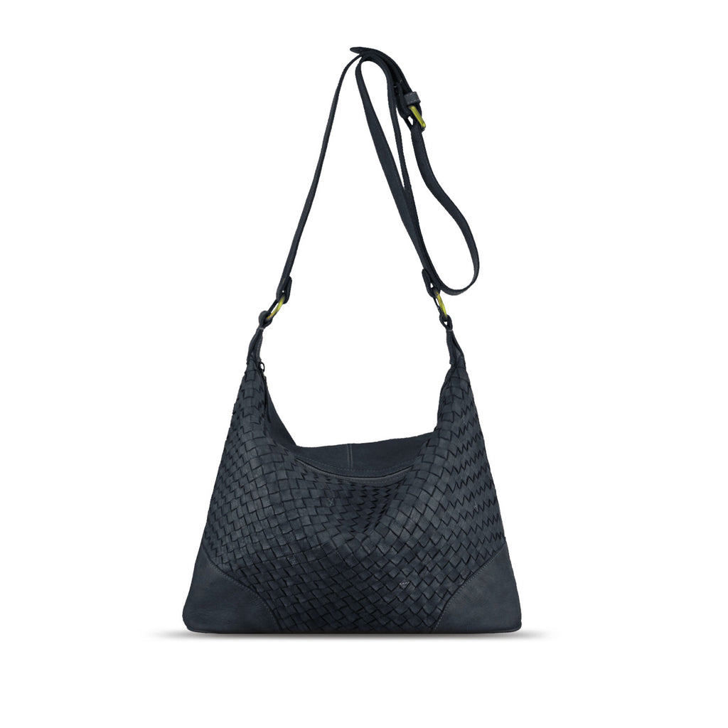 Dark Navy Washed Woven Leather Shoulder Bag - RAW001