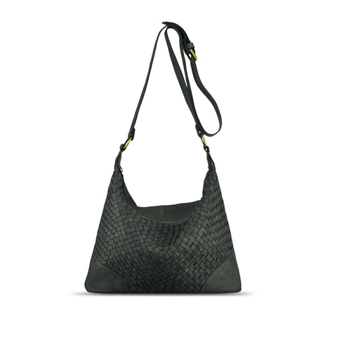 Dark Seaweed Washed Woven Leather Shoulder Bag - RAW001