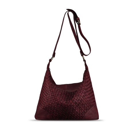 Rich Burgundy Washed Woven Leather Shoulder Bag - RAW001