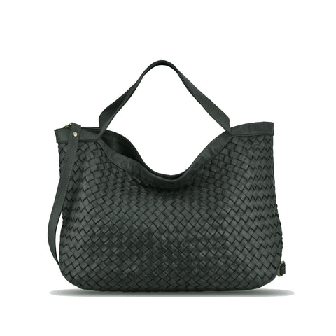 Dark Seaweed Washed Woven Leather Handbag - RAW002