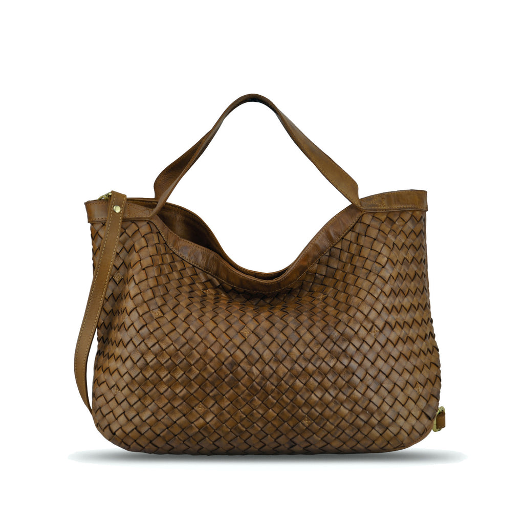 MudOak Washed Woven Leather Handbag - RAW002