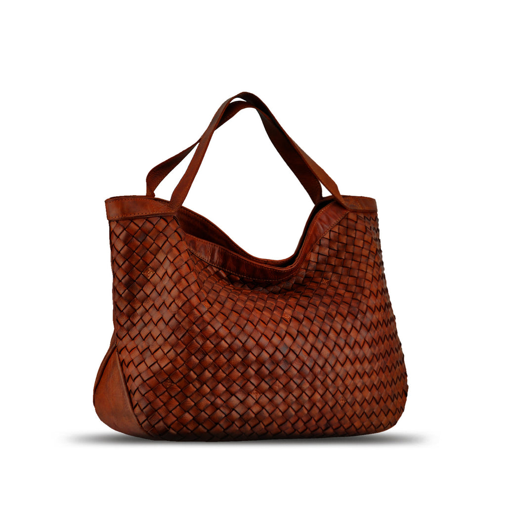 Lovely Manzoni Accessories - Summer Tan Washed Woven Leather Handbag - RAW002 AW33