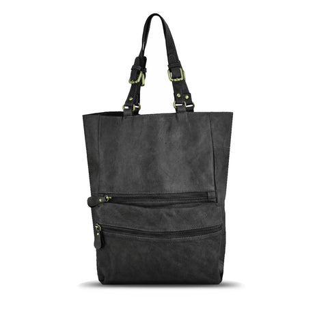 Black Washed Leather Foldable Tote - RAW003