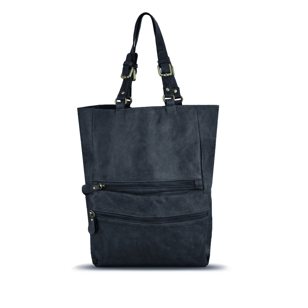 Dark Navy Washed Leather Foldable Tote - RAW003