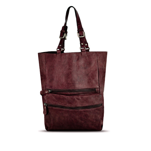 Rich Burgundy Washed Leather Foldable Tote - RAW003