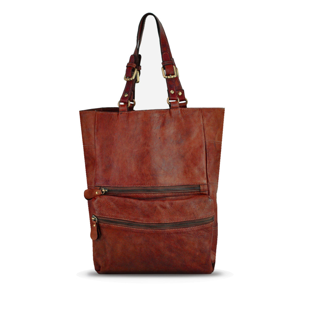 Summer Tan Washed Leather Foldable Tote - RAW003