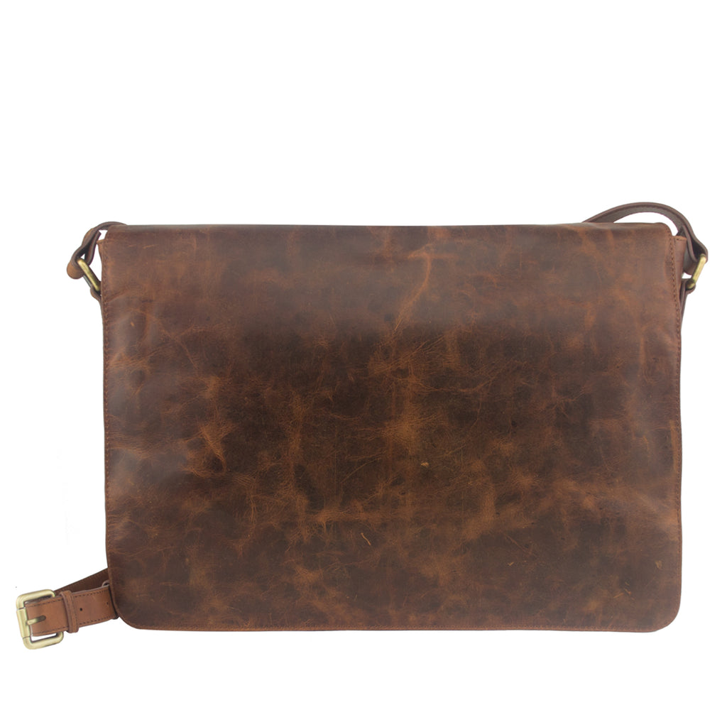 Tan Distressed Leather Messenger - MA918