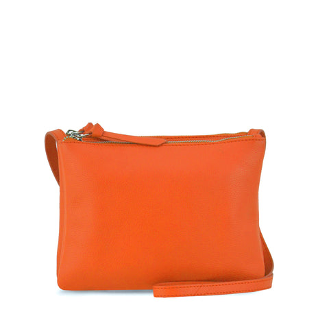 Orange Double Zippered Crossbody - MA281