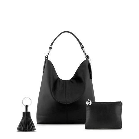 Black Leather Handbag Set With Tassel Keyring - N11PackWithKeyring