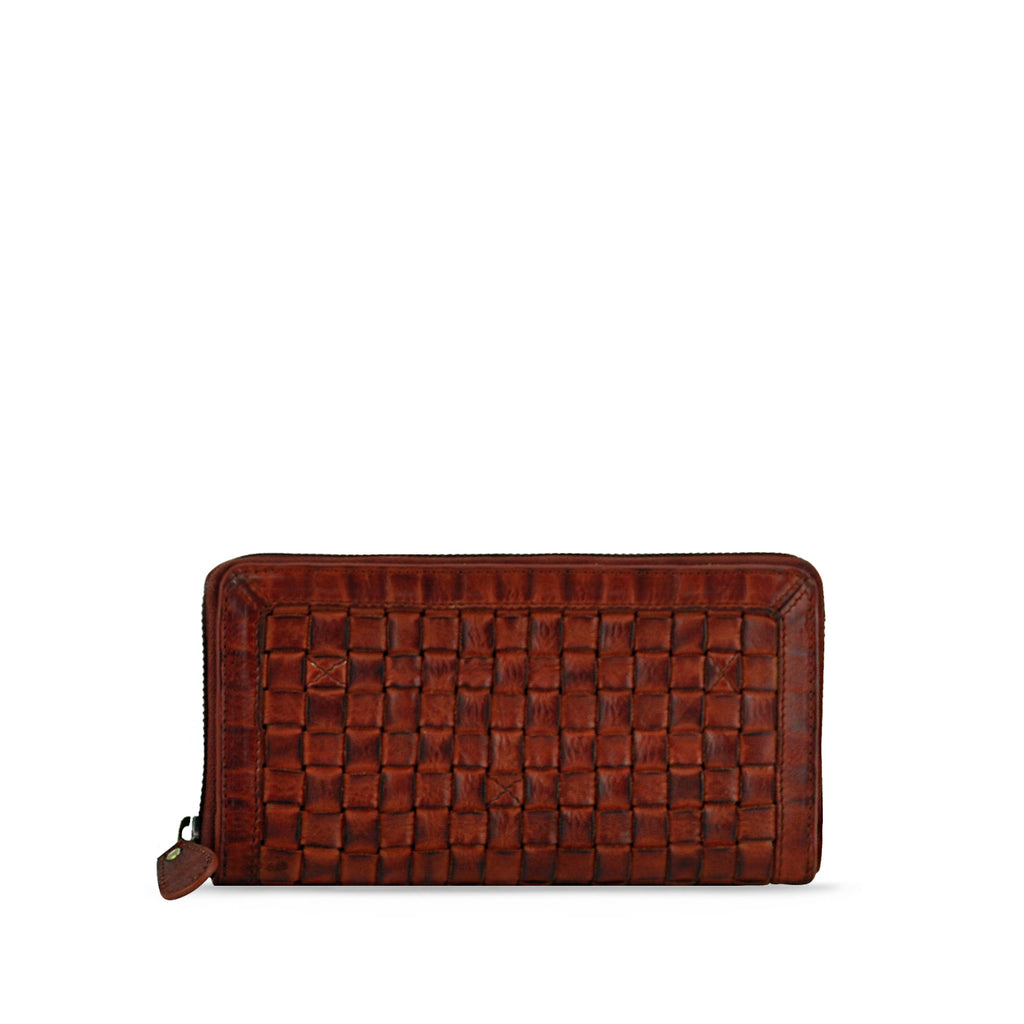Summer Tan Washed Woven Leather Wallet - RAW008