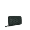 Dark Seaweed Washed Woven Leather Wallet - RAW008