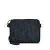 Dark Navy Woven Washed Leather Crossbody - RAW007