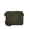 Turtle Green Woven Washed Leather Crossbody - RAW007