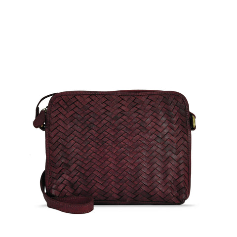 Tibetan Red Woven Washed Leather Crossbody - RAW007
