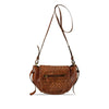 Summer Tan Washed Woven Leather Crossbody - RAW006