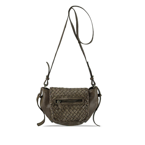 Shitake Washed Woven Leather Crossbody - RAW006