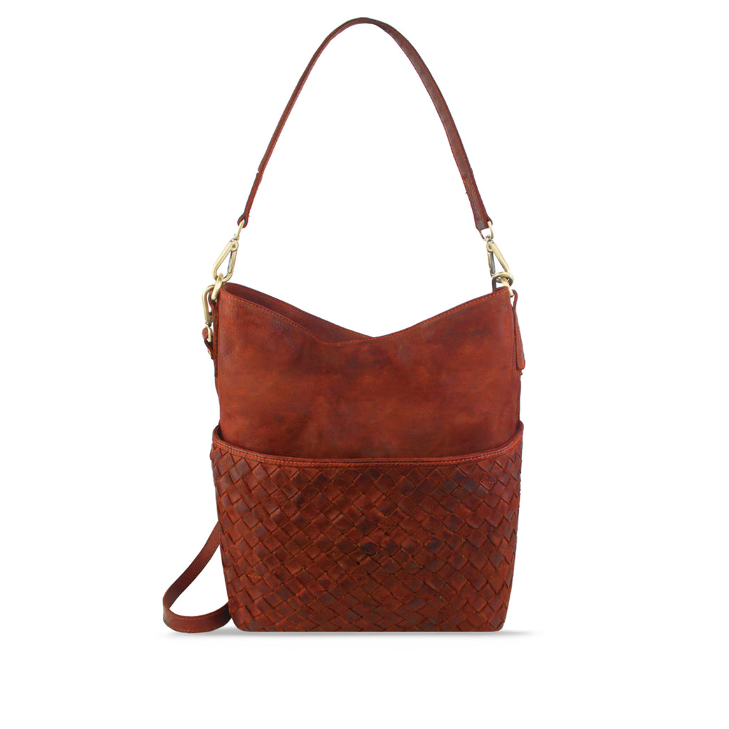 Summer Tan Washed Leather Woven Shoulder Bag - RAW011