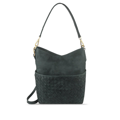 Dark Seaweed Washed Leather Woven Shoulder Bag - RAW011