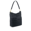 Dark Navy Washed Leather Woven Shoulder Bag - RAW011
