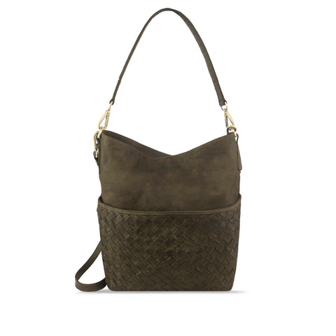 Shitake Washed Leather Woven Shoulder Bag - RAW011