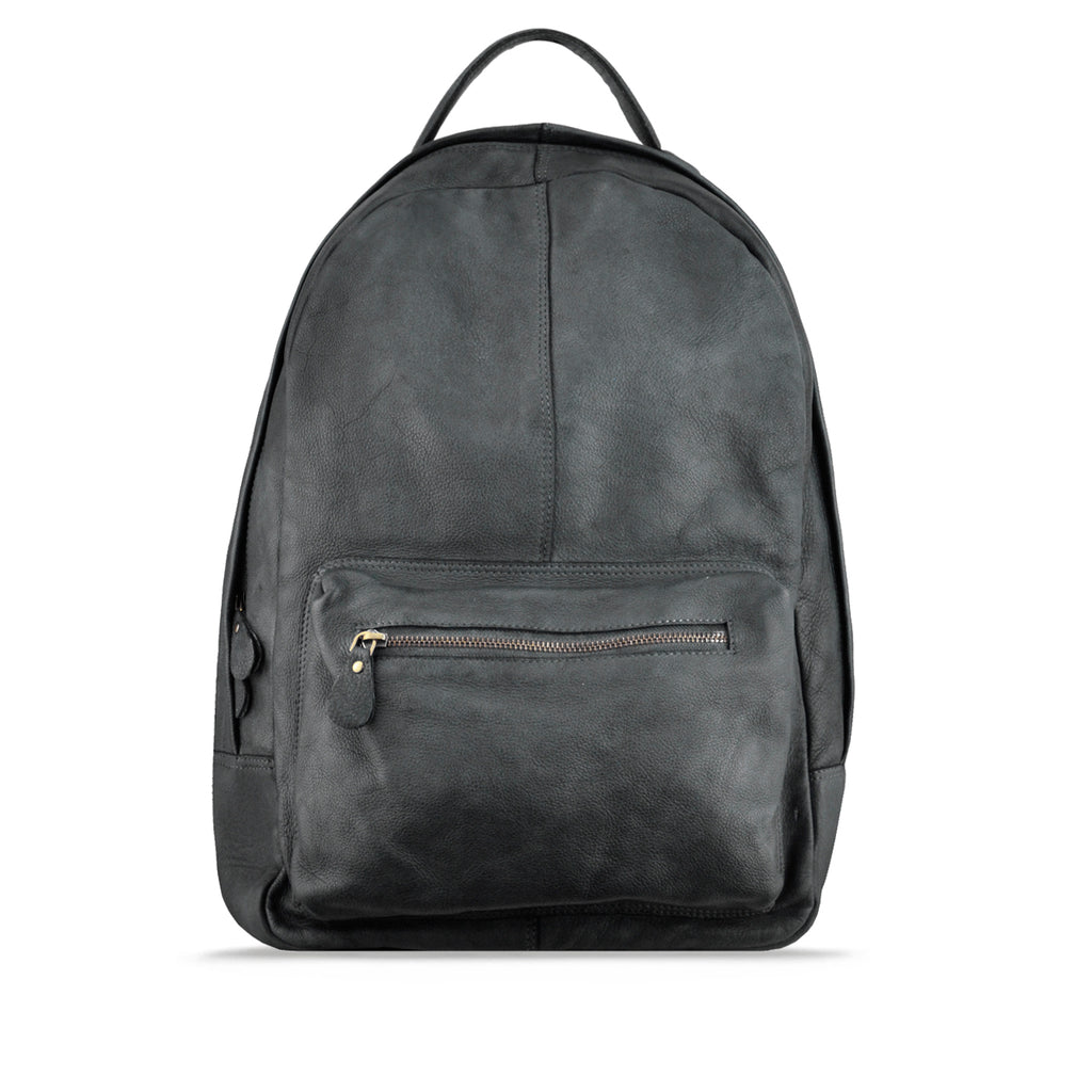 Ghost Grey Washed Leather Backpack - RAW012