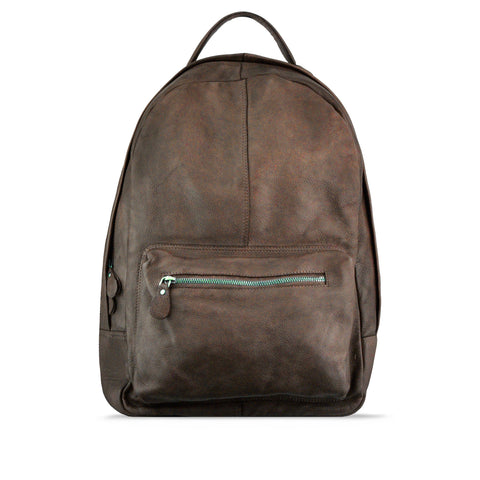 Burnt Chestnut Washed Leather Backpack - RAW012