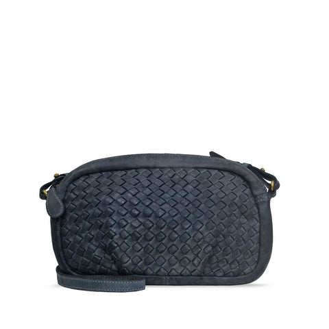 Dark Stone Washed Woven Leather Shoulder Bag - RAW014