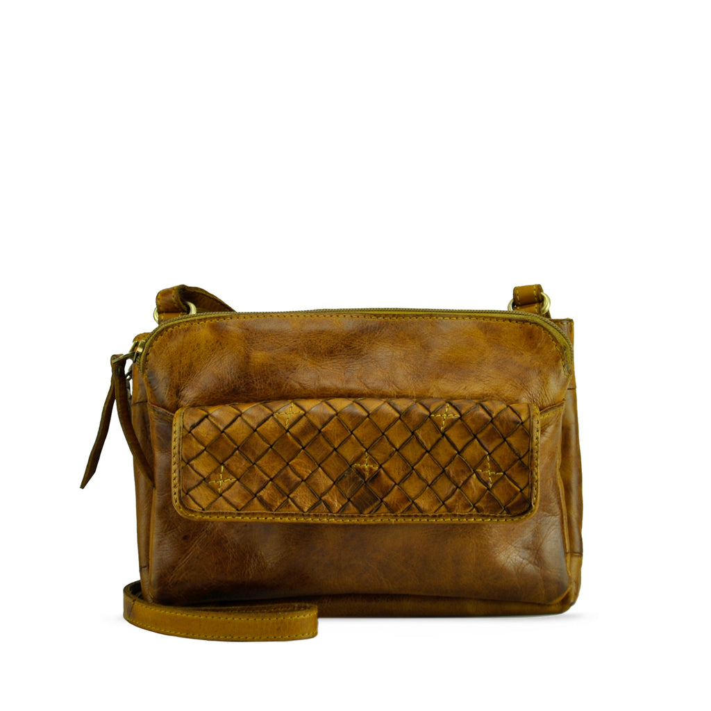 Burnt Toffee Washed Leather Crossbody - RAW016