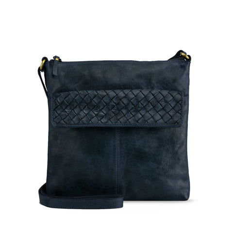 Dark Navy Washed Leather Crossbody - RAW017