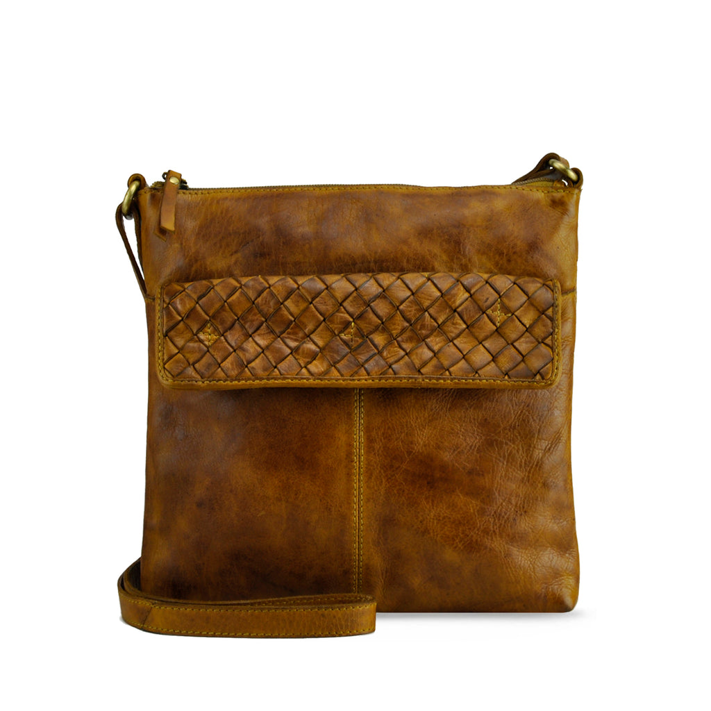Burnt Toffee Washed Leather Crossbody - RAW017