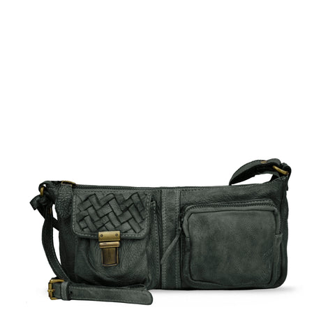 Dark Seaweed Washed Leather Zippered Crossbody - RAW018