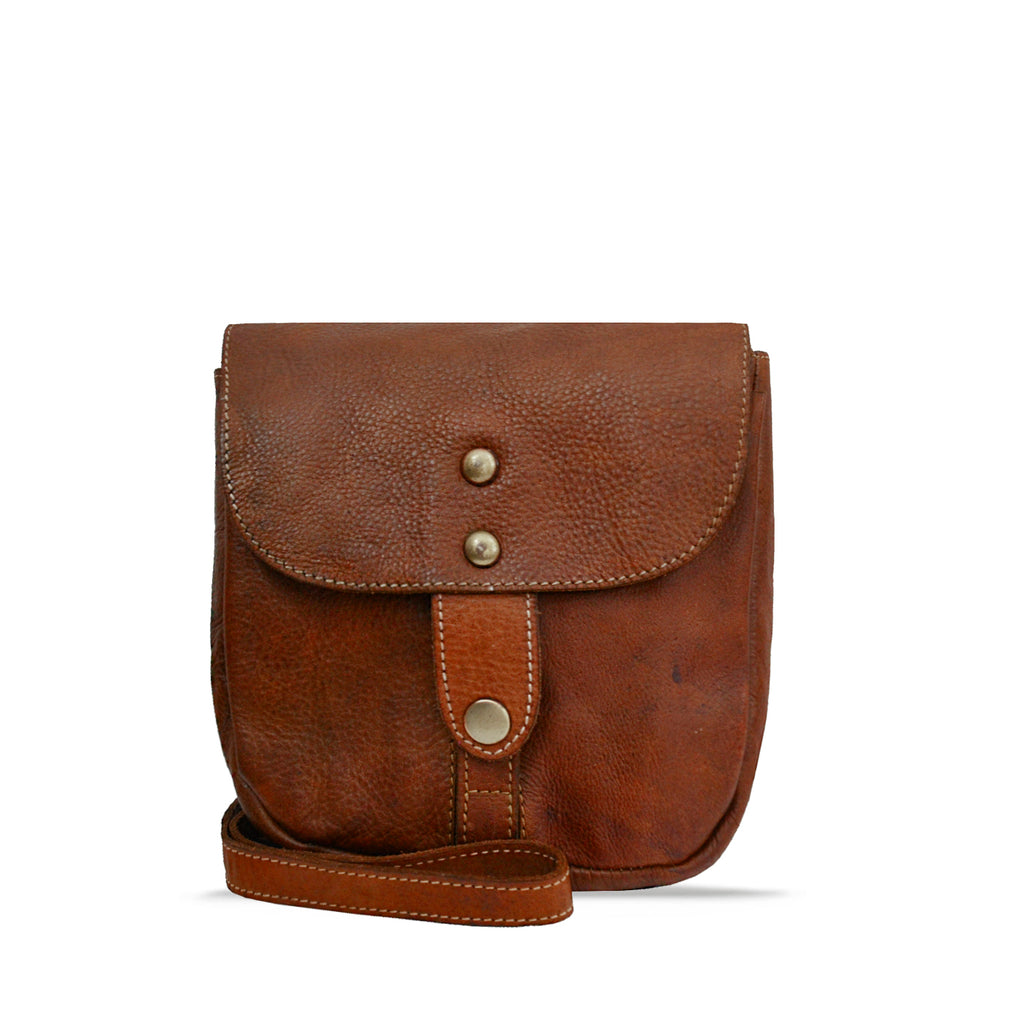 Summer Tan Washed Leather Crossbody - RAW019