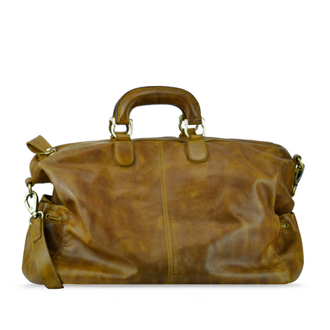 Burnt Toffee Washed Leather Handbag - RAW013