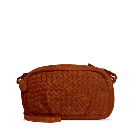 Summer Tan Washed Woven Leather Crossbody - RAW014