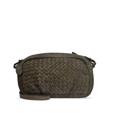 Shitake Washed Woven Leather Crossbody - RAW014