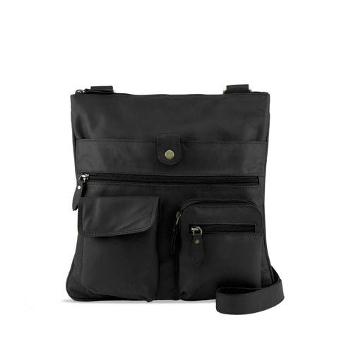 Black Leather Crossbody - A206
