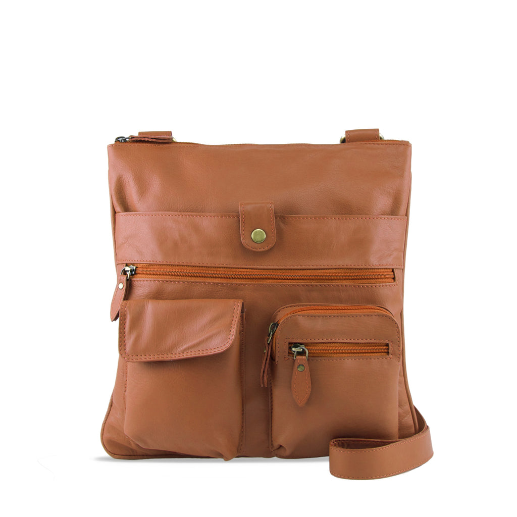 Tan Leather Crossbody - A206