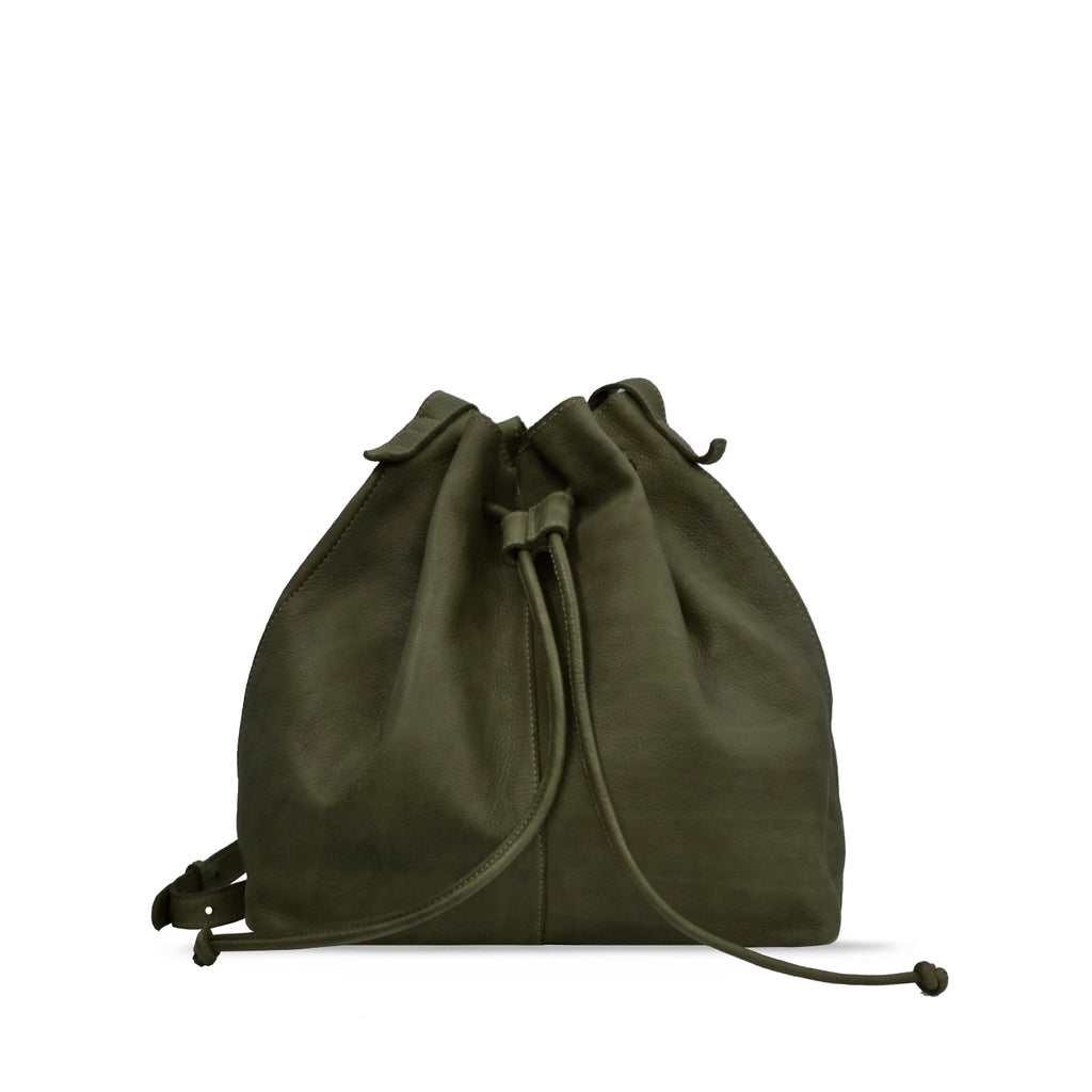 Turtle Green Washed Leather Drawstring / Shoulder Bag - RAW020