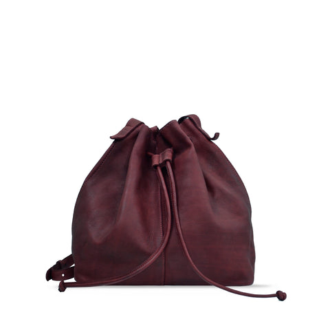 Tibetan Red Washed Leather Drawstring / Shoulder Bag - RAW020