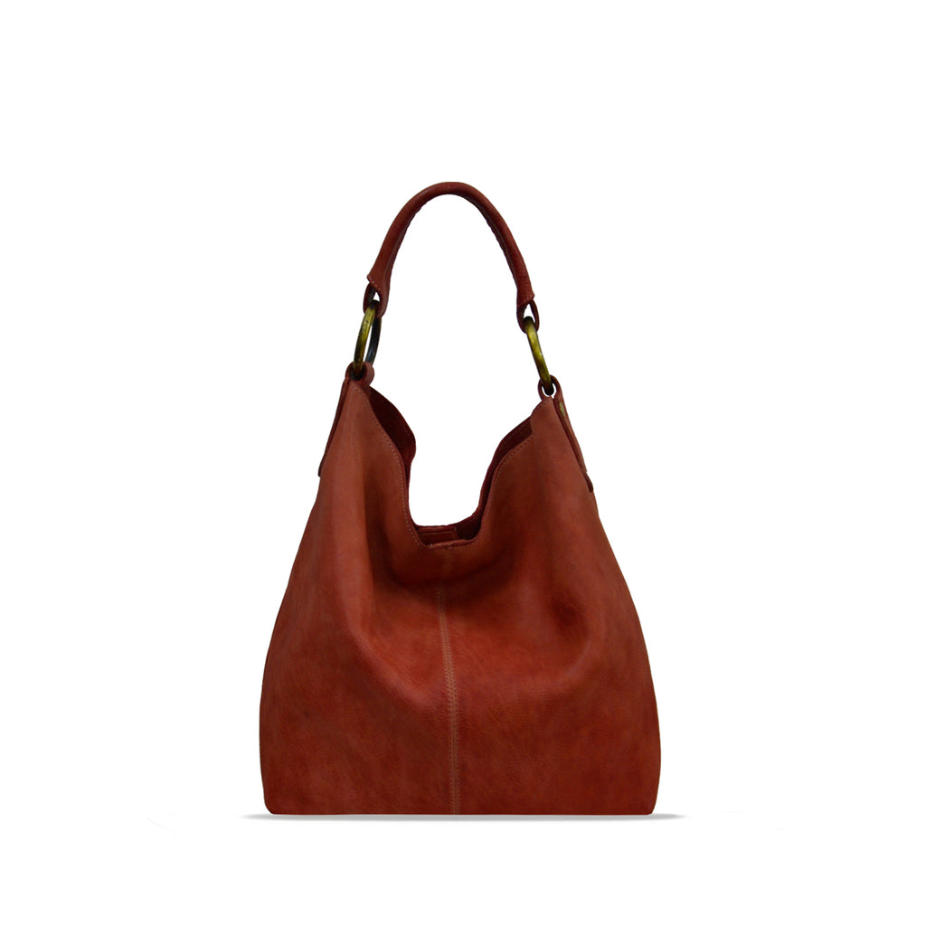 Summer Tan Washed Leather Shoulder Bag - RAW022