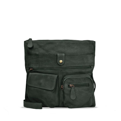 Dark Seaweed Washed Leather Shoulder Bag - RAW023