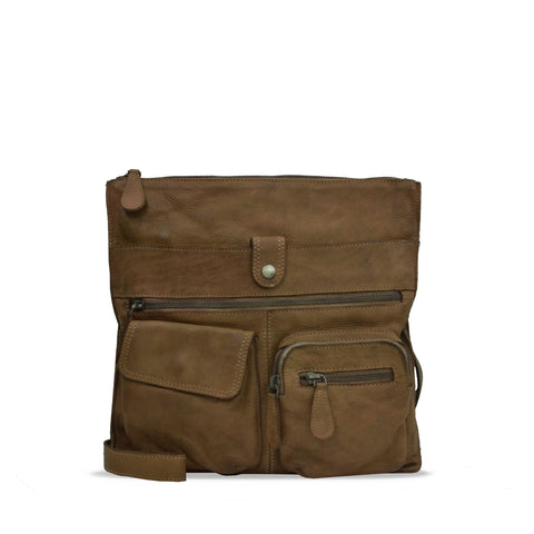 MudOak Washed Leather Ladies Shoulder Bag - RAW023