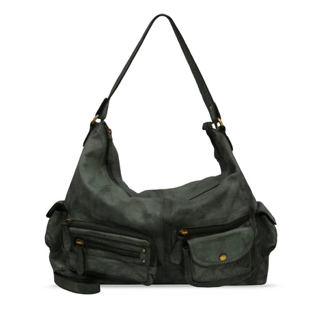 Dark Seaweed Washed Leather Handbag - RAW024