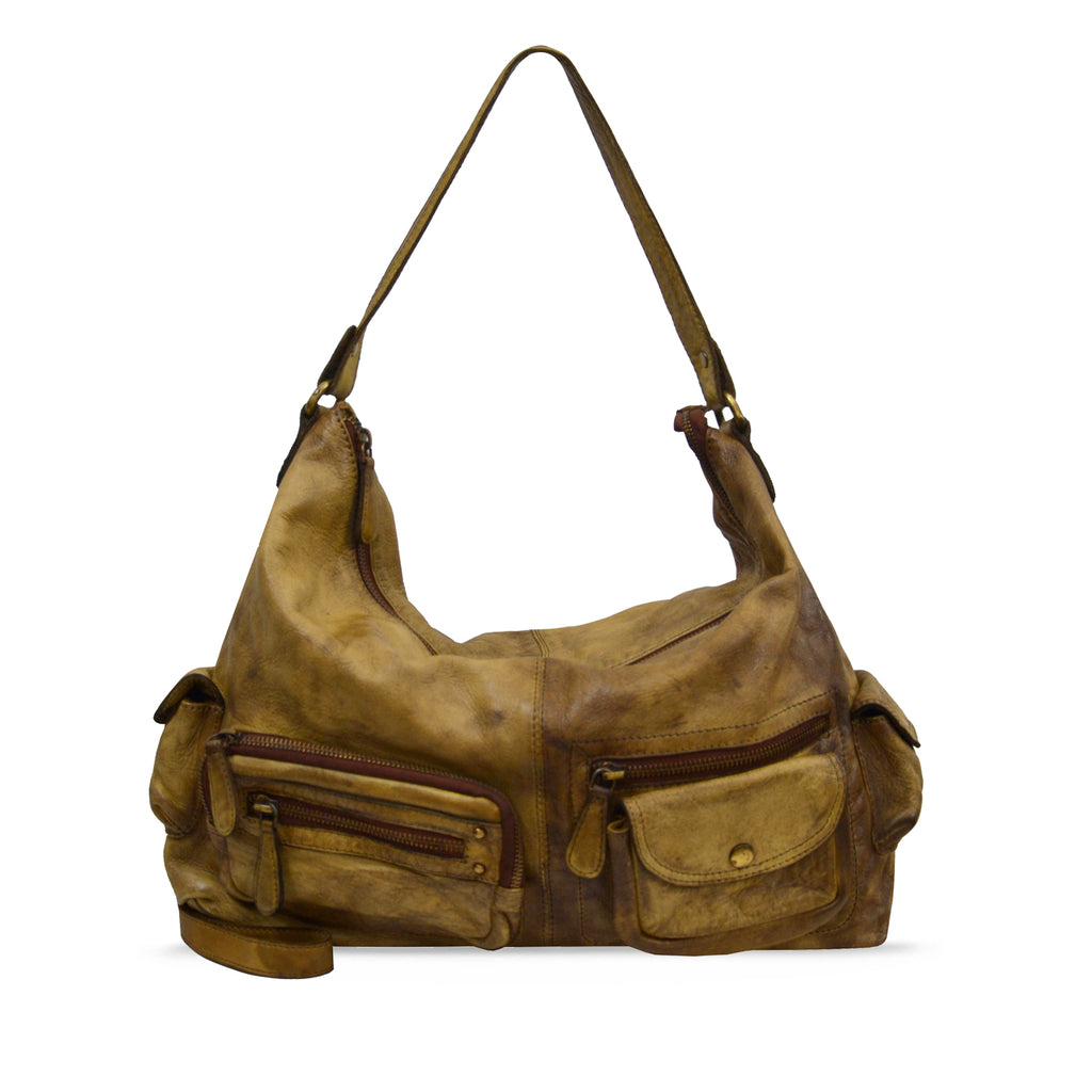 Sepia Washed Leather Handbag - RAW024
