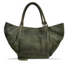 Turtle Green Washed Woven Leather Handbag - RAW025